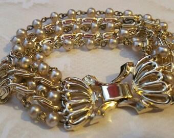 Lisner Vintage 1940's Chain And Pearl Multi Strand Bracelet