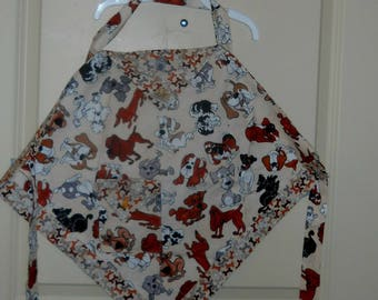 Toddler Apron, Dogs and puppies, reversible, READY to ship.