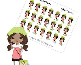 Planner Stickers Cleaning Icons Momo African American Sweep Green