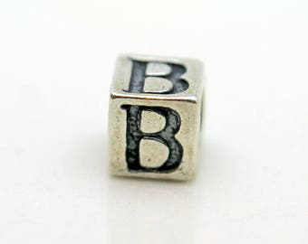Sterling Silver Alphabet B Block Cube Square Bead 5.5mm Large Hole