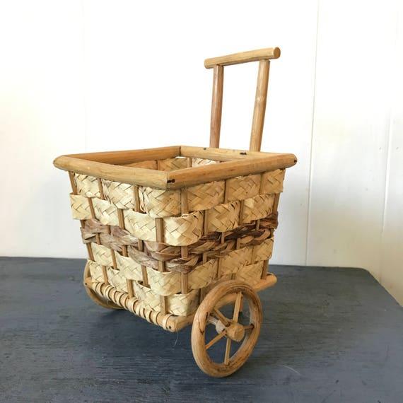 mini bamboo basket cart - flower cart - planter basket with wheels - boho garden decor