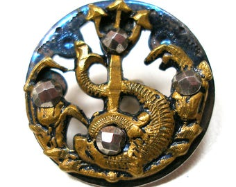 "Dolphin, Antique button, Art Nouveau dolphin fish with cut steel. 3/4""."