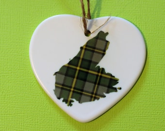 Cape Breton island ceramic Christmas ornament heart shaped maritime Atlantic Canada tartan, east coast, Island, tartan,