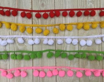 EXTRA LARGE Pom Pom Trim-2 yards-3/4-1 inch Ball-white, red, black, orange, ivory, rose, pink, old gold, green