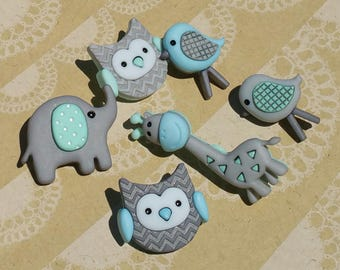 "Jungle Baby - Aqua Turquoise Gray Animal Babies - Darling Detailed Shank Sewing Button - From 1 1/2"" Tall - 6 Buttons"