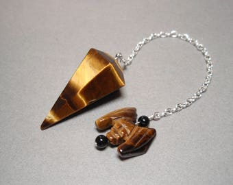 Golden Tigers Eye and Black Onyx with Bat Crystal Dowsing Pendulum