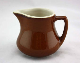 H.F. Coors Chefsware Ceramic Pitcher in Brown - 162 - Made in U.S.A. - Brown Pottery Cream Pitcher - Individual Creamer - Restaurant Ware