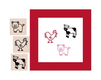 Mini Farm Animals Rubber Stamp set