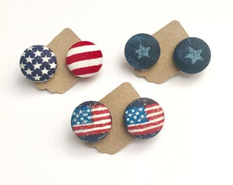 USA Flag Earrings-Fabic Button-Fabric Jewelry-4th of July Stars and Stripes-Earrings