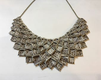 Origami Collection:   Beige and brown snake Origami Necklace