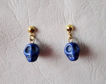 Skulls earrings ♥ Mexican ♥ dark blue