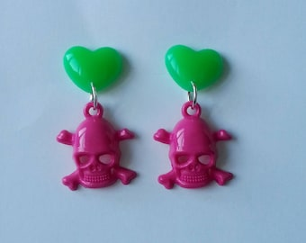 Hearts and skulls - neon green and pink earrings