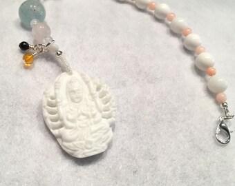 Carved shell Kuan Yin meditation beads