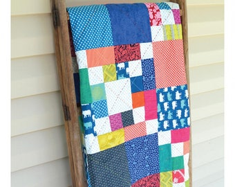 Cross The Scraps Quilt Pattern #MC028, Wall Hanging, Throw, Twin, Double/Queen King Sizes, May Chappell