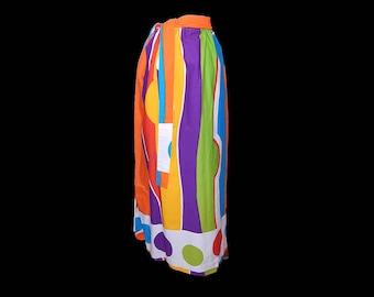Vintage 60s mod dot long cotton maxi skirt M/L