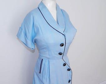 Vintage 40s 50s blue rayon big deco button day dress M L