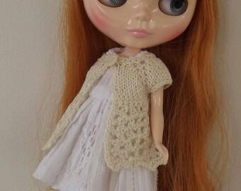 BLYTHE CARDIGAN/TOP, Blythe outfit, Blythe clothes, Blythe cream cardigan/blythe knitwear/blythe sweater