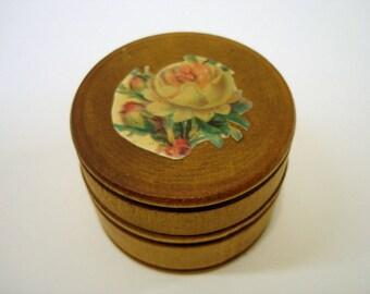 Vintage Round Wooden Box Small Wooden Box Trinket Box Small Box Vintage Storage Box Knick Kniack Box Jewelry Box Round Box