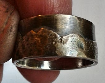 Mountain range sterling silver wedding ring - Custom mens band, ladies band, unisex band, nature lover, rustic, rugged, organic ring