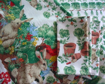 Wilton Court  Mr. McGregor's Garden Tablecloth with Four Matching Napkins, Vintage, Peter Rabbit