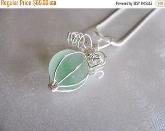 SEA GLASS SALE Soft Green Marble Pendant - Sea Glass Pendant - Beach Glass Jewelry - Ocean Jewelry Gift - Wire Wrapped Sea Glass Marble Pend