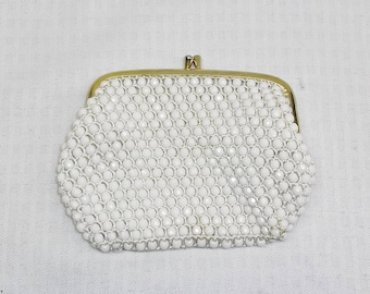1960s Vintage White Plastic Beaded Change Clutch Purse Hong Kong
