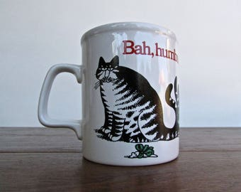 Kliban Cat Mug, Bah Humbug - Kiln Craft Made in Stratfordshire Potteries-England Vintage 1980