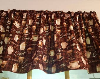 New Brown Coffee Java Cappuccino  Mocha Expresso Cup Brown Window Curtain Valance Limited supply