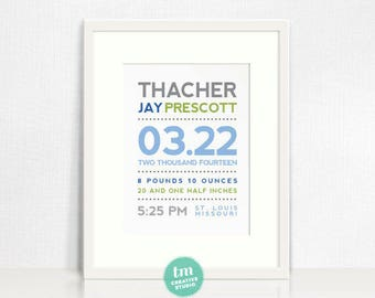Modern Typography Custom Birth Announcement // Nursery Print // Birth Stat Poster // Baby Boy // Grey, Blue, Green