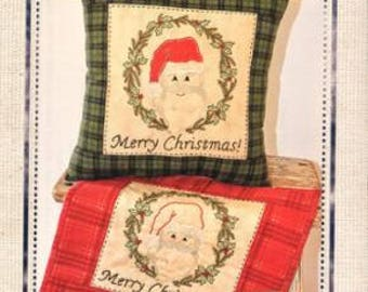 Clearance PATTERN Embroidery Applique Holly Jolly SANTA Christmas Mini Wall Hanging Quilt or Pillow Embroidery Applique