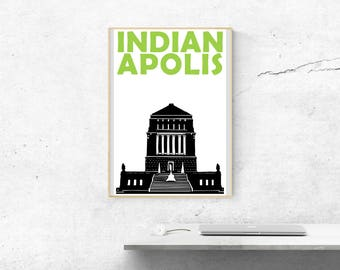 Indianapolis Print // Indiana Art Print // Indianapolis Poster // Indianapolis Art // City Print // Moving Away Gift // City Poster