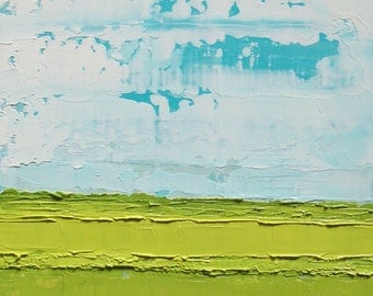 Abstract Landscape oil painting, green landscape, abstract oil painting, blue sky, cloud painting
