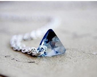 Summer Sale Crystal Necklace, Swarovski Triangle, Triangle Crystal, Crystal Pendant, Triangle Necklace, Geometric Necklace, Sterling Silver,
