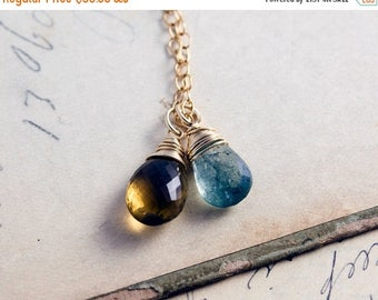 Moss Aquamarine Necklace, Moss Aquamarine, March Birthstone, Gold Necklace, Whiskey Quartz, Wire Wrapped, Gemstone Pendant, Gold Filled