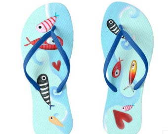 Flip Flops Fishes Love Jumping