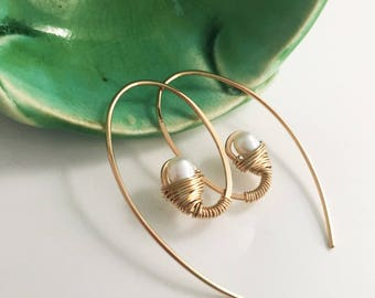 Gold Filled Swirl Gemstone Earrings - White Pearl - E470GF-WP -handmade by cristysjewelry