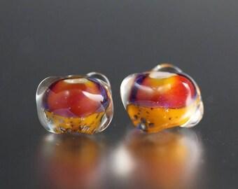 10% OFF SALE Lampwork Glass Beads - Orange Pink - Lampwork Beads - Bumpy Bead Pair