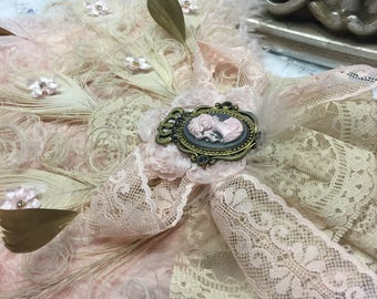 Luxurious Marie Antoinette ostrich feather fan bouquet with exquisite details - Only One IN STOCK