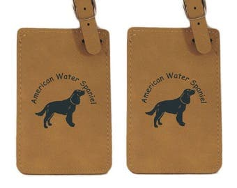 American Water Spaniel Standing Luggage Tag 2 Pack L1270