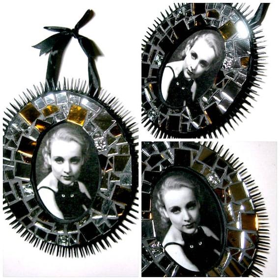 Handmade Mosaic Frame, Black Silver Mosaic Frame, Oval Mosaic Picture Frame, Black Spiked Mosaic Frame, Sparkly Mosaic Frame, Mirror Frame
