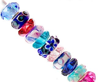 MERZIEs 11 silver lampwork glass black pink red turquoise navy blue flower thin rondelle acrylic beads #s - SHIPs from USA