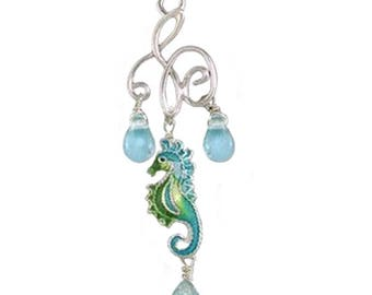 MERZIEs artisan silver U PICK ear wires Zarah tiny Seahorse glass beads Zarlite Chandelier dangle earrings  -combined S&H- SHIPs from USA