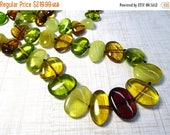 SALE 20% Off Natural Green Amber Beads Necklace Yellow Gold Amber Nugget 26 Inches,  Russian Green Gemstone, #515B