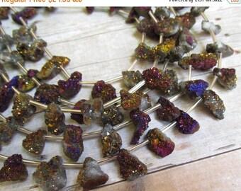20% OFF SALE Small Mystic Druzy Briolette Beads , Volcano Purple Burgundy Gold Titanium Druzy  11 Inches