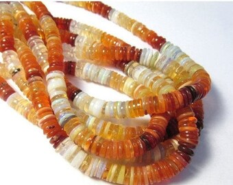 20% OFF SALE AAA Natural Fire Opal Beads 6mm 7mm ROndelle Slice  , 18 Inch,Mexican Cherry Fire Opal ,