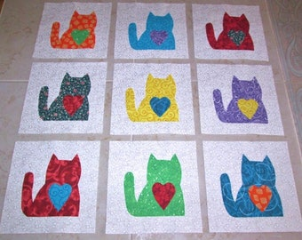 "Set of 9  Bright Sitting Cats with Hearts  6"" x 6""  Cotton Quilt Blocks"