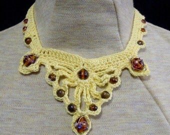 Crocheted necklace -yellow with various brown beads -  trach stoma cover