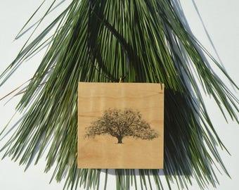 Wood Block Christmas Ornament - Candler Oak Tree Savannah