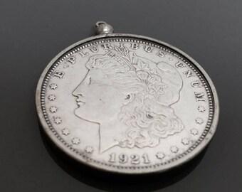 1921 Morgan Head Liberty US Silver Dollar . Coin Jewelry . Collectible Coin . Vintage Coin . One Dollar . Coin Necklace . Morgan Dollar