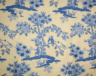"Blue and Yellow Asian Toile Home Decorating Fabric 54"" Wide x 1 1/4 Yards Plus 2 Pieces"
